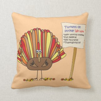 Funny, Colorful, Turkey Cartoon| Add Your Message Throw Pillow