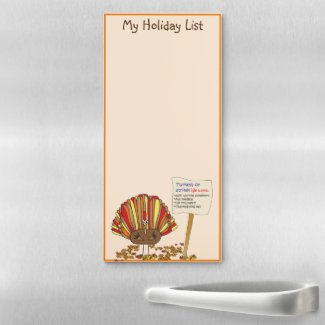 Funny, Colorful, Turkey Cartoon Magnetic Notepad