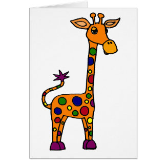 Funny Colorfully Spotted Giraffe Cards