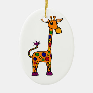 Funny Colorfully Spotted Giraffe Ornament