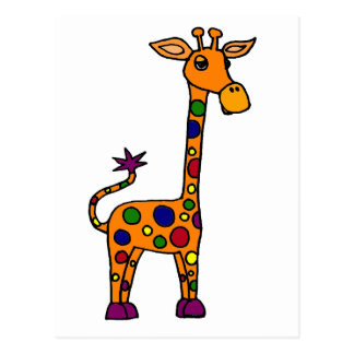 Funny Colorfully Spotted Giraffe Postcards