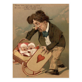 Funny Comedy Father Rocking Baby Cradle Post Cards