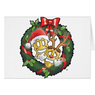 Funny Comedy & Tragedy Christmas Masks Card