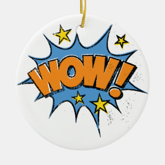 Funny Comic Cartoon Explosion with Nice WoW Text Ceramic Ornament