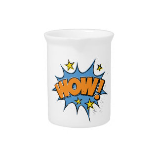 Funny Comic Cartoon Explosion with Nice WoW Text Pitcher