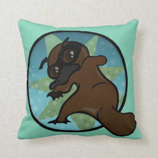 FUNNY COMIC STYLE PLATYPUS SQUARE THROW PILLOW