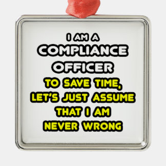 Funny compliance officer t shirts christmas ornament