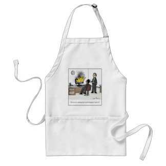Funny Computer and Technology Office Cartoon Adult Apron