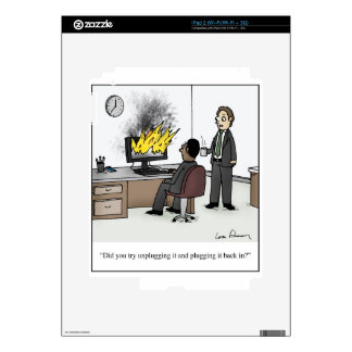 Funny Computer and Technology Office Cartoon Decal For The iPad 2