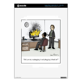 Funny Computer and Technology Office Cartoon iPad 3 Decal