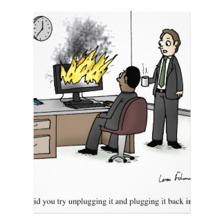 Funny Computer and Technology Office Cartoon Letterhead