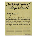 Funny Condensed Declaration of Independence Poster