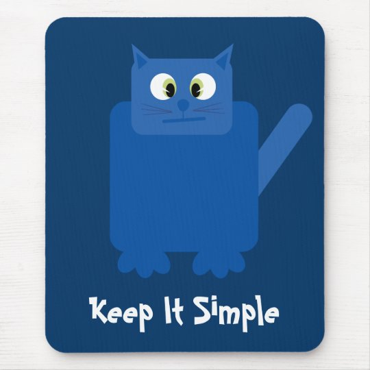 Funny Confused Cat Keep It Simple Recovery Blue Mouse Pad