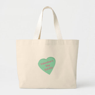 Funny conversation heart: Valentine's Day sucks! Large Tote Bag