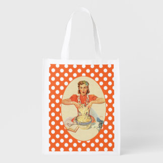Funny Cook Polka Dot Grocery Bag
