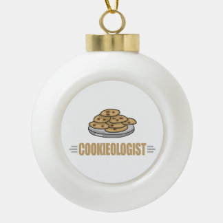 Funny Cookie Lover Ceramic Ball Christmas Ornament
