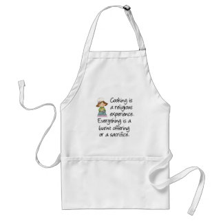 Funny Cooking Is A Religious Experience Adult Apron