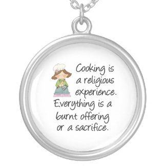 Funny Cooking Is A Religious Experience Round Pendant Necklace