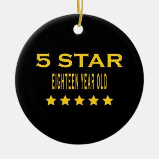Funny Cool 18th Birthdays : Five Star Eighteen Christmas Tree Ornament