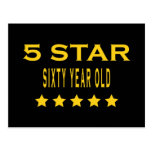Funny Cool 60th Birthdays Five Star Sixty Year Old Postcards