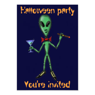 Funny cool alien Halloween party invitation card