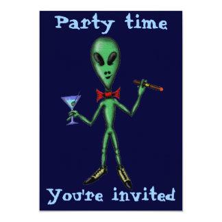 Funny cool alien party invitation card design