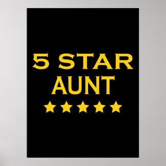 Funny Cool Aunts : Five Star Aunt Print