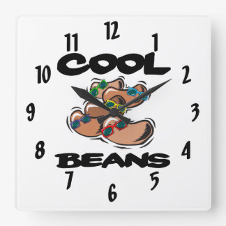 funny cool beans graphic square wall clock