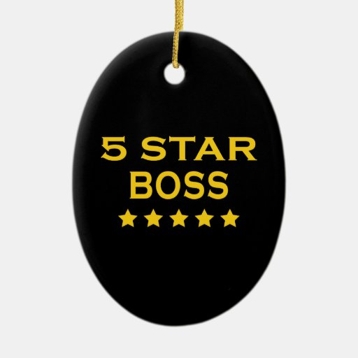 Funny Cool Bosses : Five Star Boss Double-Sided Oval Ceramic Christmas Ornament