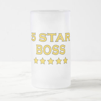 Funny Cool Bosses : Five Star Boss Frosted Glass Beer Mug