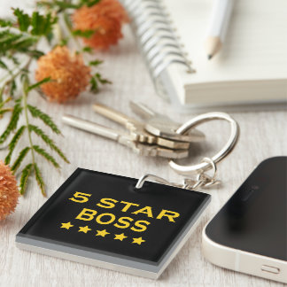 Funny Cool Bosses : Five Star Boss Square Acrylic Keychain