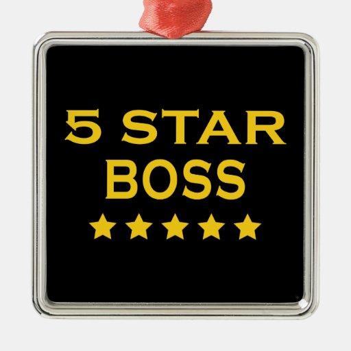 Funny Cool Bosses : Five Star Boss Christmas Ornament