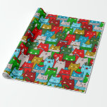 Funny Cool Christmas Cats Gold Red White Blue Wrapping Paper at Zazzle
