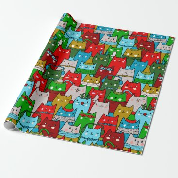 Christmas Themed Funny Cool Christmas Cats Gold Red White Blue Wrapping Paper