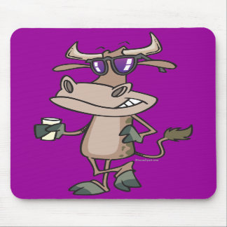 funny cool cow wearing shades cartoon character mouse pads