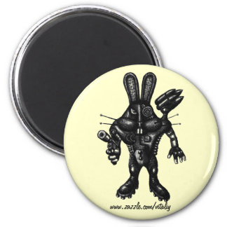 Funny cool cyborg bunny pen ink drawing art magnet