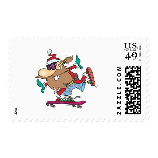 funny cool dude skateboarding santa claus postage