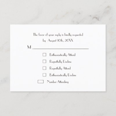 Funny Cool Fun Custom Wedding RSVP Card Invite