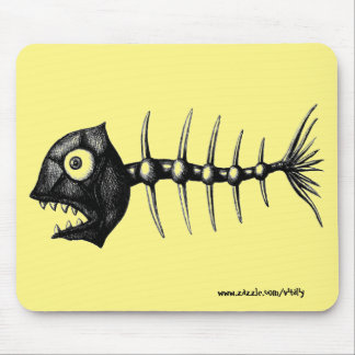 Funny cool fish skeleton ink drawing art mouse pad