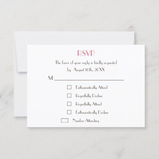 Funny Cool Fun Custom Wedding RSVP Card Invite