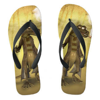 Funny cool gecko flip flops