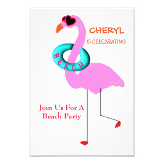 Funny Cool In Shades Pink Flamingo Beach Party Card