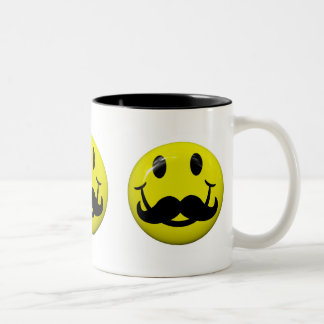 Funny Cool Mustache Smiley Face Mug