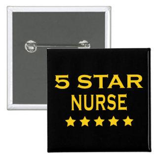 Funny Cool Nurses : Five Star Nurse Pinback Button