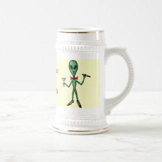 Funny cool party alien cartoon art beer mug