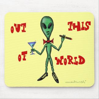 Funny cool party alien cartoon art mousepad