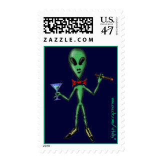 Funny cool party alien cartoon art stamp design