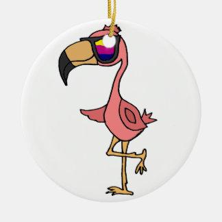 Funny Cool Pink Flamingo Bird with Sunglasses Ceramic Ornament