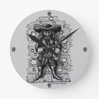 Funny cool pirate pen ink drawing art round clock