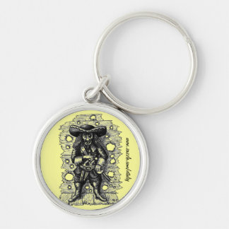 Funny cool pirate pen ink drawing keychain